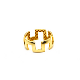 Real Gold Maze Hoop Ring (SIZE 7.5) R1573