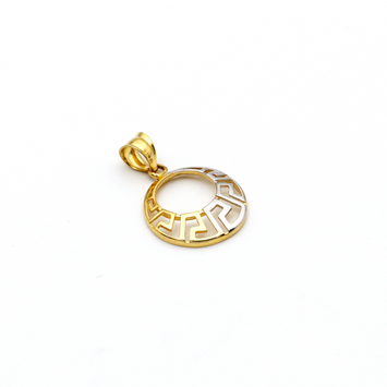 Real Gold 2 Color Maze Hoop Pendant 361