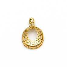 Real Gold Maze Hoop Oval Pendant 2049 - 18K Gold Jewelry