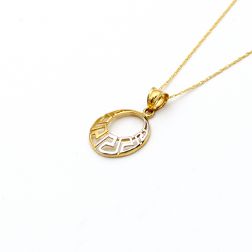 Real Gold 2 Color Maze Hoop Necklace 361