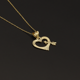 Real Gold Lined Arrow Heart Necklace - 18K Gold Jewelry