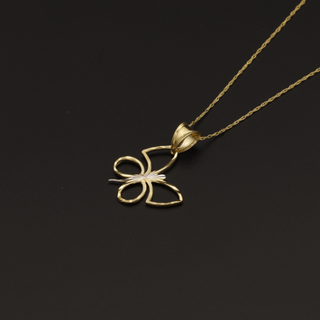 Real Gold 2C Butterfly Necklace 002