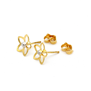 Real Gold 2C Flower Earring Set 1104 - 18K Gold Jewelry