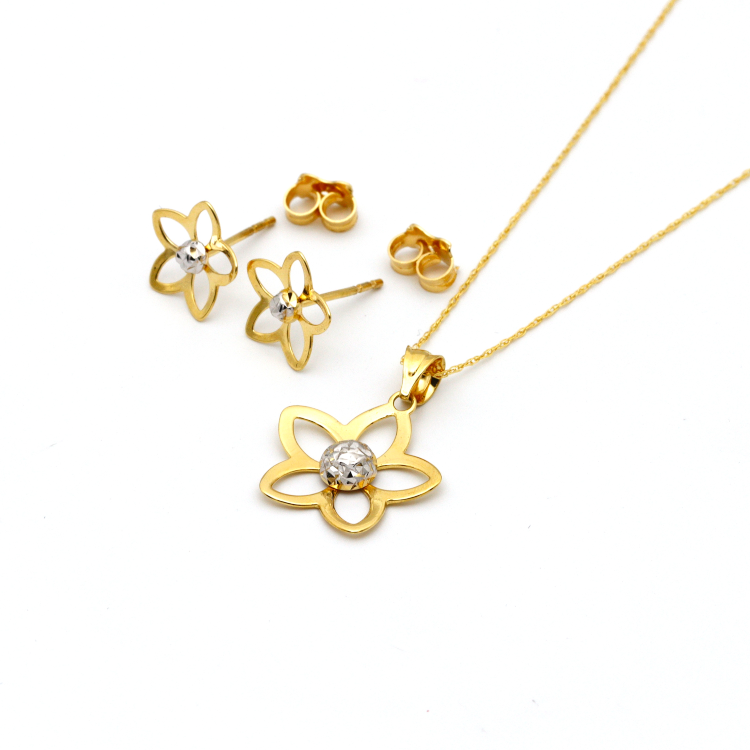Real Gold 2 Color Flower Earring Set 1104 + Pendant 058 + Chain