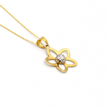 Real Gold 2 Color Flower Necklace 058