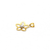 Real Gold 2 Color Flower Pendant 058