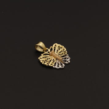 Real Gold 3C Butterfly Pendant - 18K Gold Jewelry