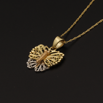Real Gold Chain With Gold 3C Butterfly Pendant