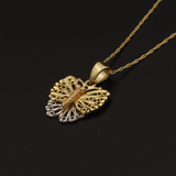 Real Gold Chain With Gold 3C Butterfly Pendant - 18K Gold Jewelry