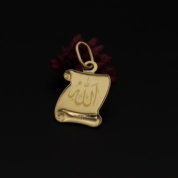 Real Gold 2 Side Allah Pendant 001 - 18K Gold Jewelry