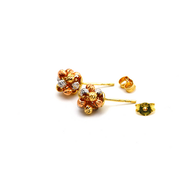 Real Gold 3 Color Ball Earring Set E1594