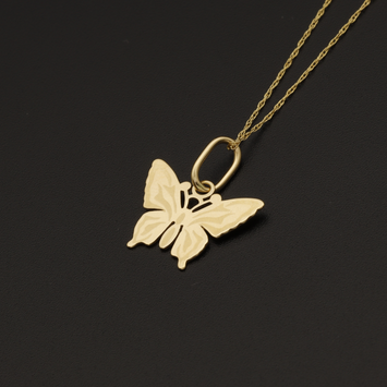 Real Gold Chain With Gold Butterfly Pendant 001 - 18K Gold Jewelry