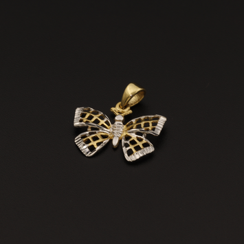 Real Gold 2 Color T Butterfly Pendant - 18K Gold Jewelry