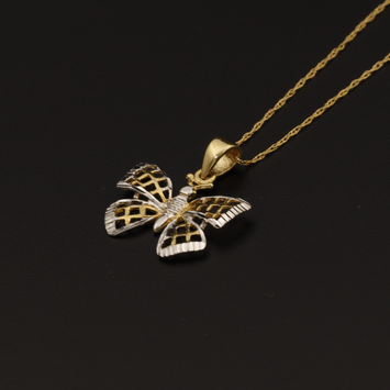 Real Gold 2 Color T Butterfly Necklace