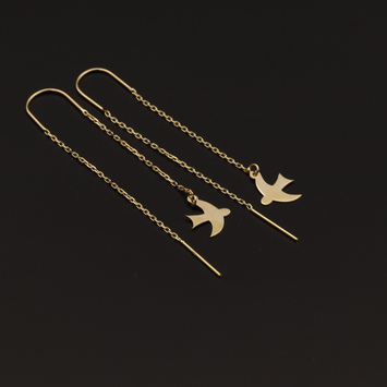 Real Gold Hanging Bird Earring Set - 18K Gold Jewelry