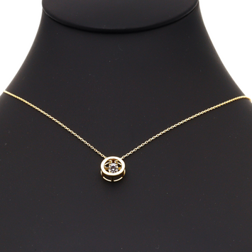 Real Gold Round Dancing Stone Necklace N1207