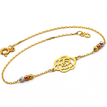 Real Gold 3 Color Flower Bracelet 988 BR1287