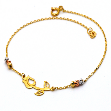 Real Gold 3 Color Rose Bracelet 986 BR1289