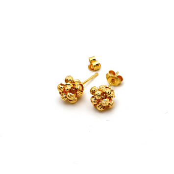 Real Gold Ball Earring Set E1596