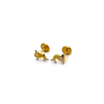 Real Gold Dolphin Screw Earring Set K1192