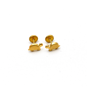 Real Gold Turtle Screw Earring Set K1194