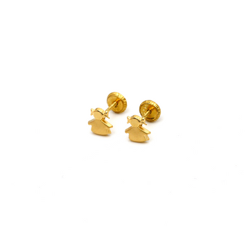 Real Gold Girl Screw Earring Set K1195