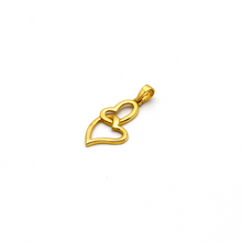 Real Gold 2 Curved Heart Pendant - 18K Gold Jewelry