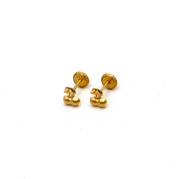 Real Gold Chery Screw Earring Set K1196