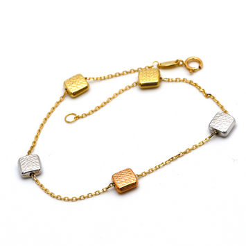 Real Gold 3 Color Square Box Bracelet 4029 BR1291