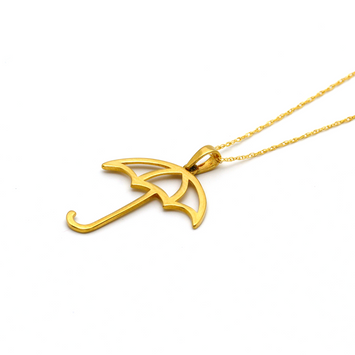 Real Gold Umbrella Necklace - 18K Gold Jewelry