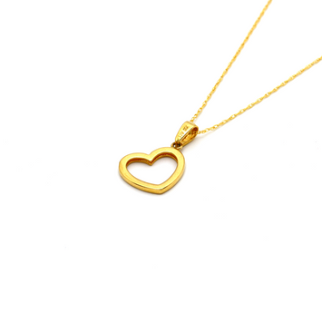 Real Gold Side Hook Heart Necklace - 18K Gold Jewelry