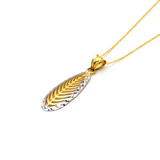 Real Gold 2 Color Leaf Necklace 347 - 18K Gold Jewelry