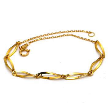 Real Gold Plain Oval Twisted Bracelet 0900 BR1294