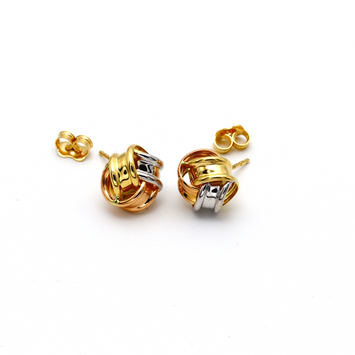 Real Gold 3 Color Earring Set 179 - 18K Gold Jewelry