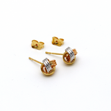 Real Gold 3 Color Earring Set 374 - 18K Gold Jewelry