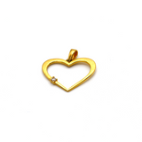 Real Gold Stone Heart Pendant - 18K Gold Jewelry