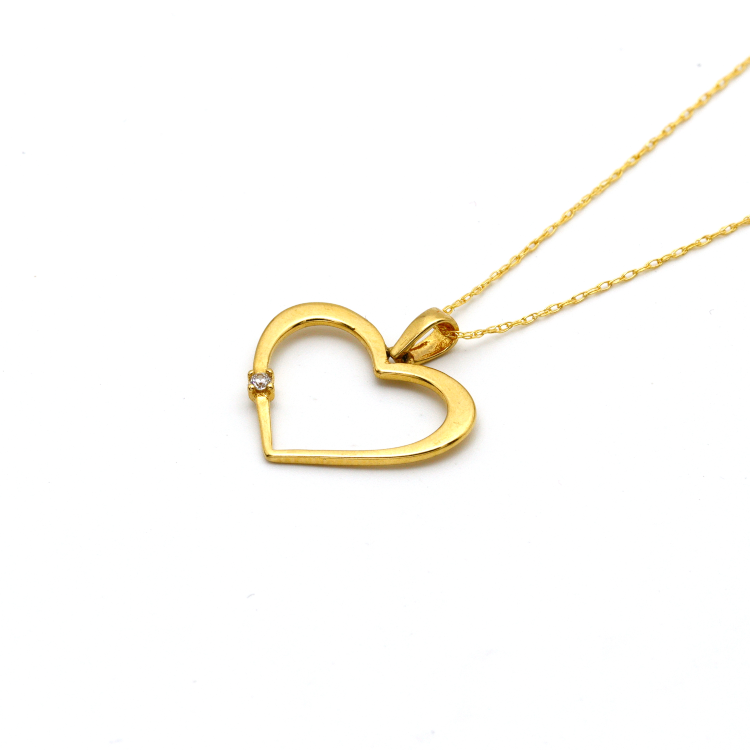 Real Gold Stone Heart Necklace - 18K Gold Jewelry