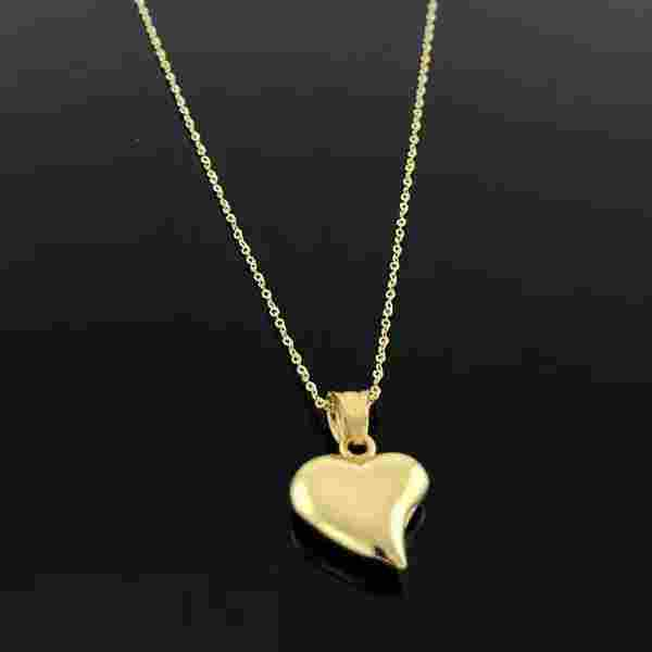 Real Gold Curved Heart Necklace 002 - 18k Gold Jewelry
