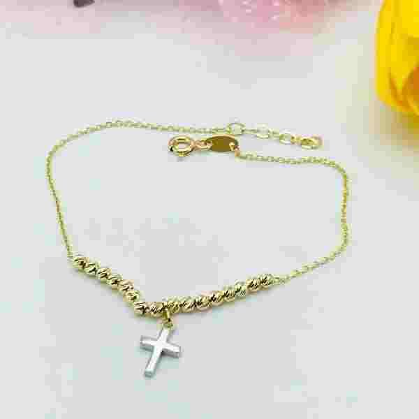 Real Gold 2 Color Cross Bracelet 1369 - 18k Gold Jewelry