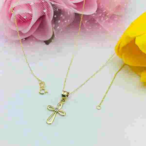 Real Gold Cross Necklace 0658 - 18k Gold Jewelry