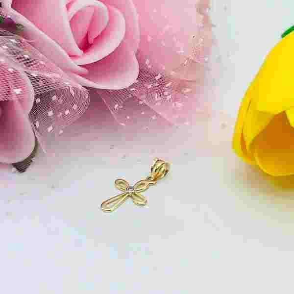 Real Gold Cross Pendant 0658 - 18k Gold Jewelry