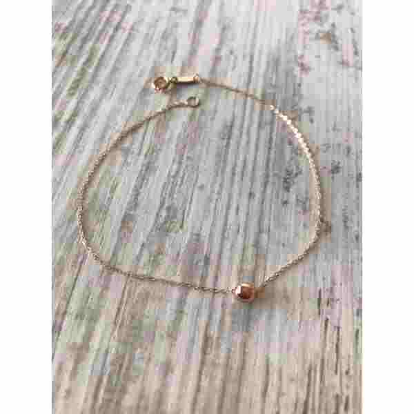 Real Rose Gold Small Seed Bracelet - 18k Gold Jewelry