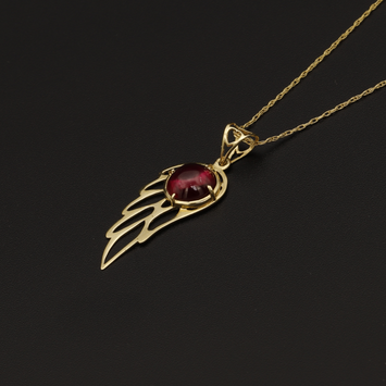 Real Gold Chain With Gold Wing With Red Stone Pendant
