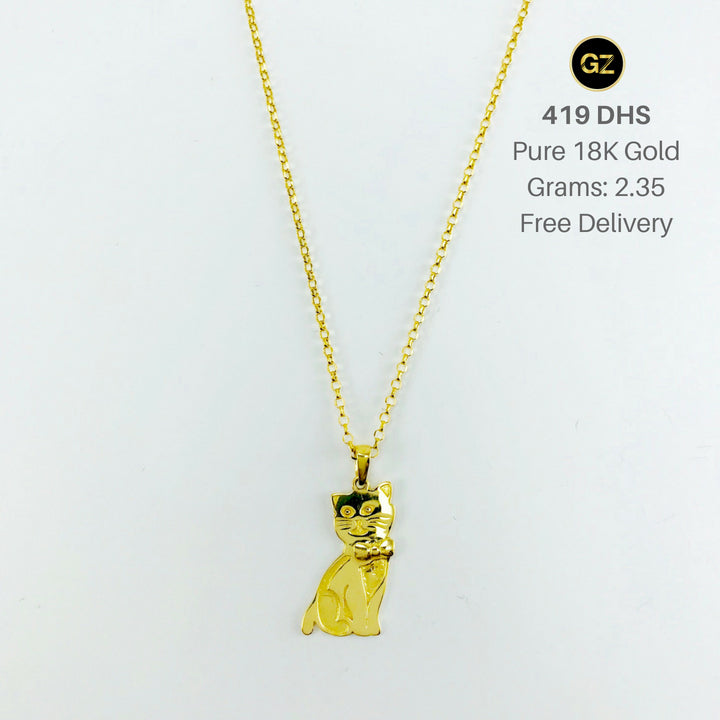 Real gold chain with gold cat pendant gold zone aloadofball Gallery