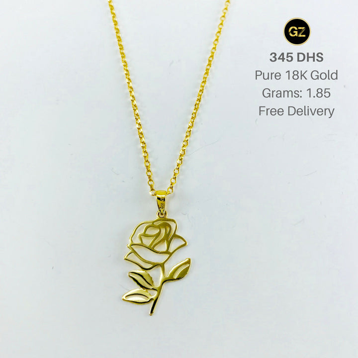 Real gold chain with gold rose pendant gold zone aloadofball Image collections
