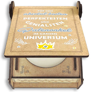 CANDLE in the BOX | bester Patenonkel des Universums | personalisiert mit Foto & mit Namen