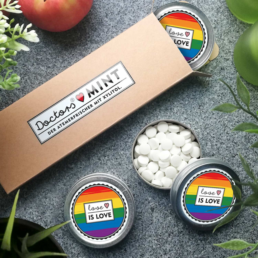 DOCTORS MINT | 3er Pack | zuckerfreie Pfefferminz-Bonbons | mit Xylit | vegan | Motiv: Love is Love