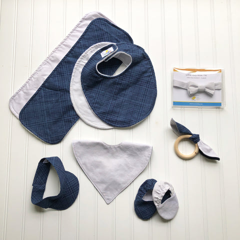 Light Grey and Navy Plaid Baby Collection