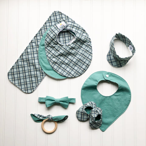Sage and Offshore Plaid Baby Collection