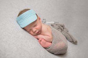 Newborn Visor Photo Prop - Aqua Gingham